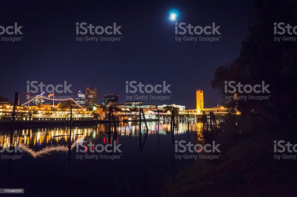 Sacramento skyline on the night with moon royalty-free stock photo