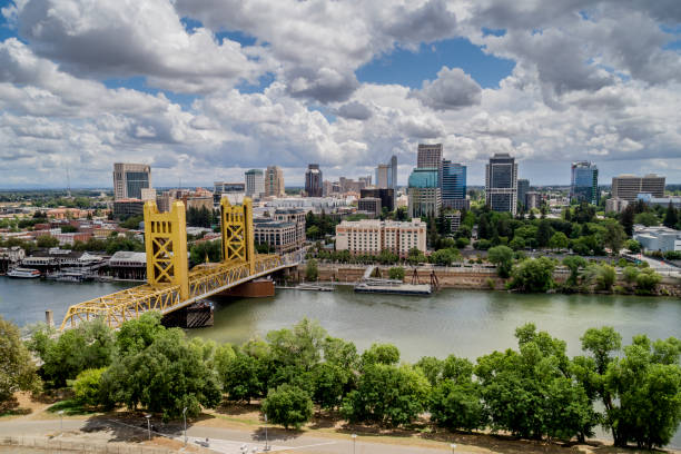 Sacramento Tower Bridge and Sacramento Capitol Mall stock photo