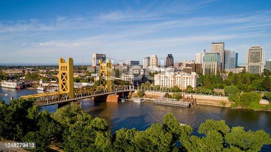 istock Sacramento Tower Bridge and Sacramento Capitol Mall 1248279413
