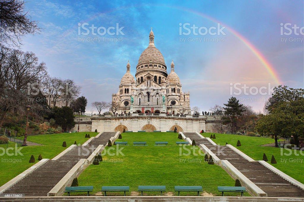 Sacre Coeur Basilica of Montmartre in Paris, France stock photo
