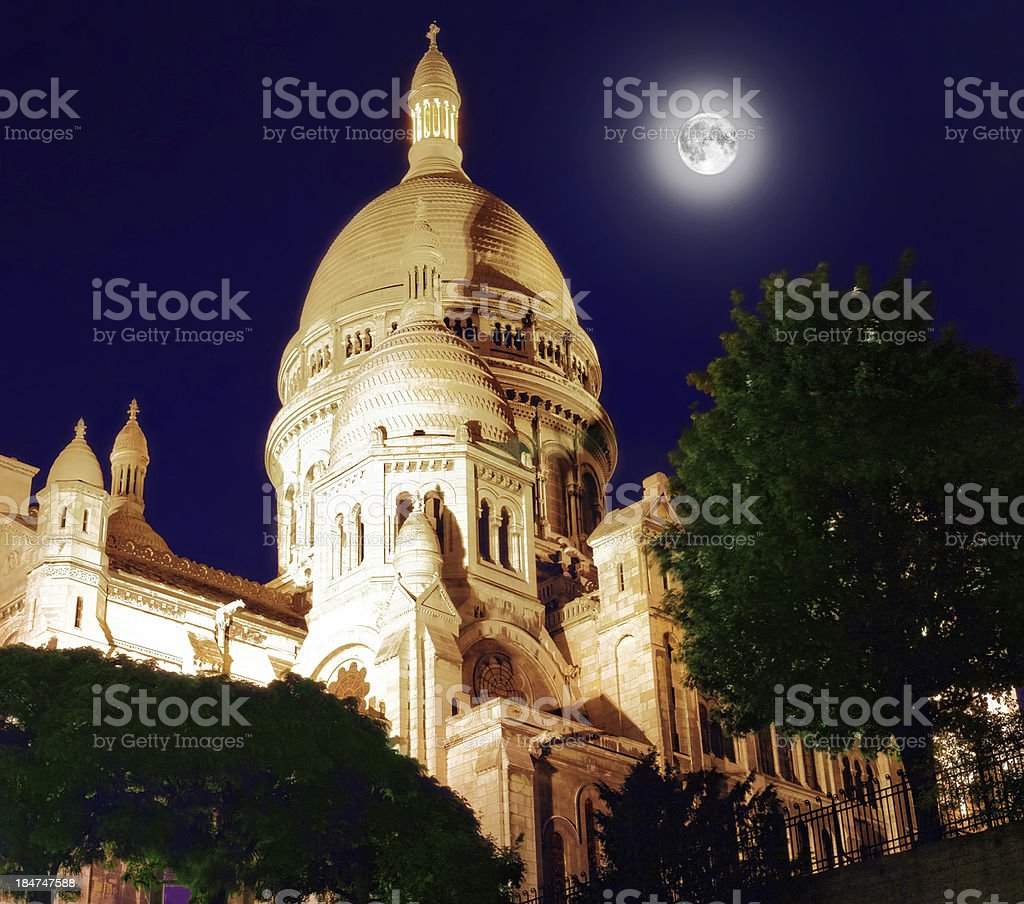 Sacre Coeur Cathedral on Montmartre Hill at Dusk, Paris royalty-free stock photo