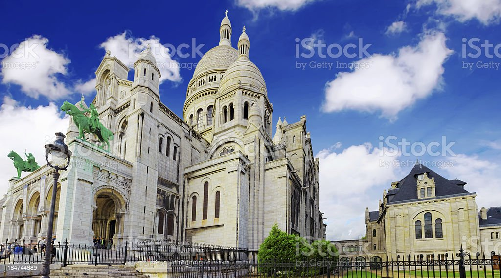 Sacre Coeur Cathedral on Montmartre , Paris royalty-free stock photo