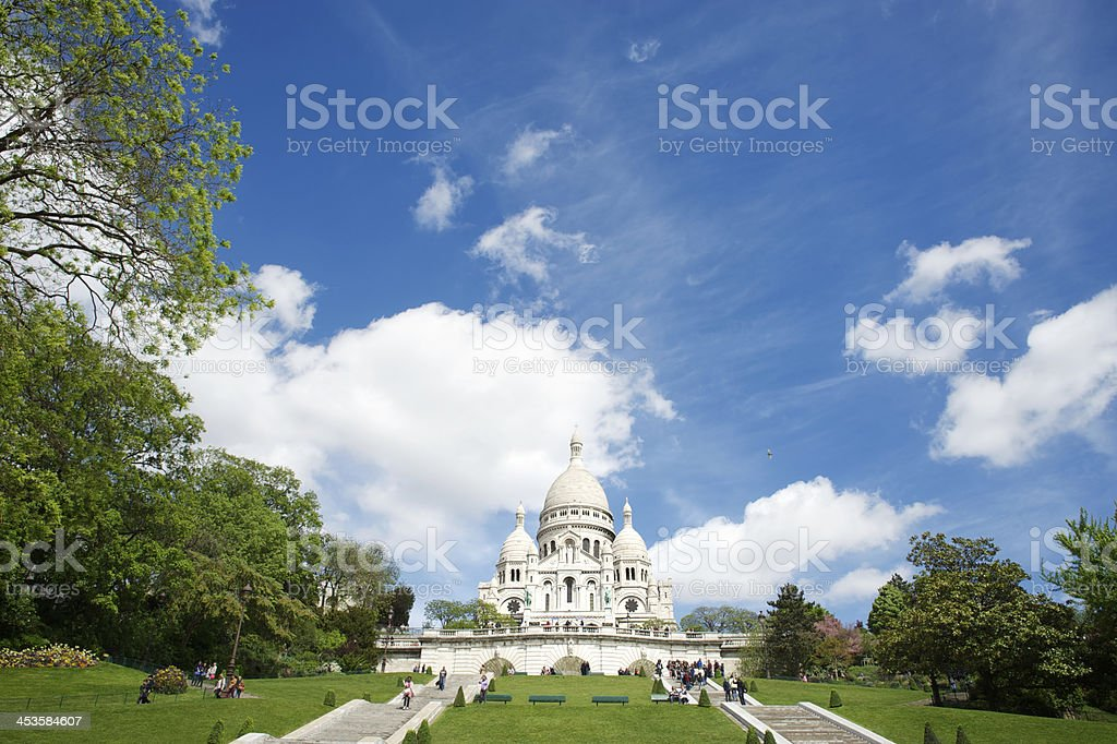 Sacre Coeur Sacred Heart Basilica Spring Day in Paris stock photo