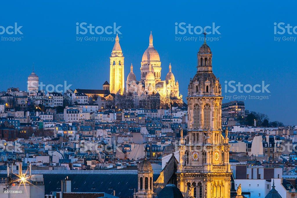 Sacre-Coeur Basilica at night in Paris, France stock photo