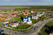Bogandinskoe (Kilki), Russia - May 13, 2015: View at on Sacred and Ilyinsky temple from helicopter. Tyumen region