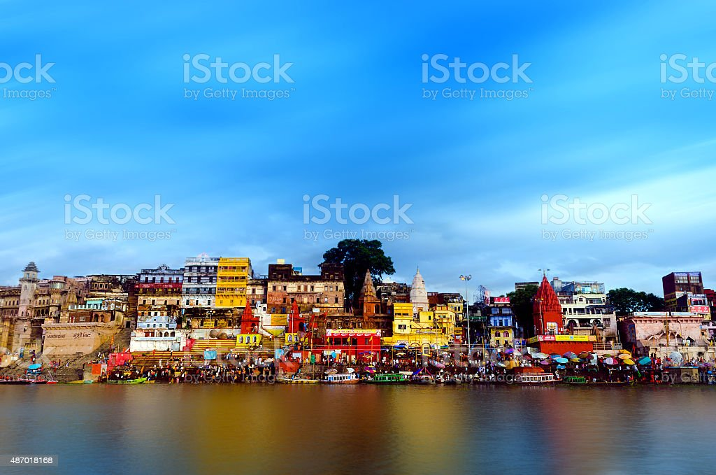 sacred banaras coast of ganga waterscape stock photo