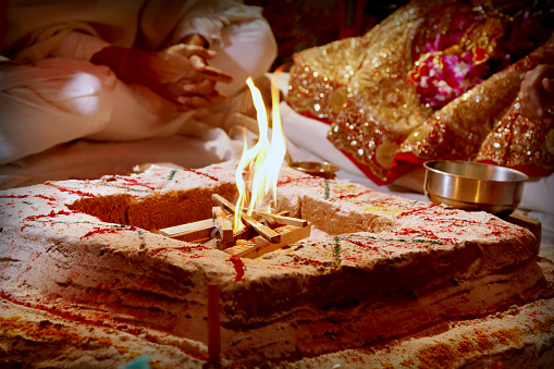 istock Sacred fire for Puja . Selective focus is used. 984255548