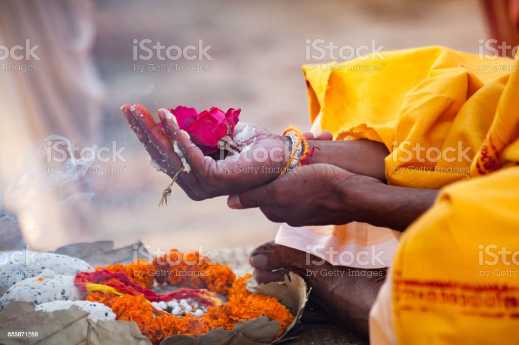 Sacred flowers are taken for worship on hand at river Ganges stock photo