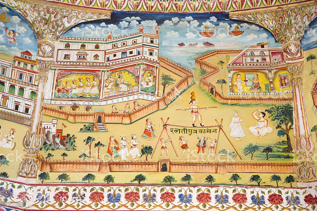 Sacred fresco in Laxmi Nath Temple, Bikaner India stock photo