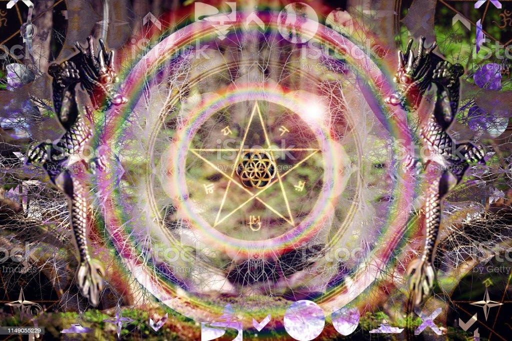 Sacred geometry pentagram seed of life dragon abstract mandala