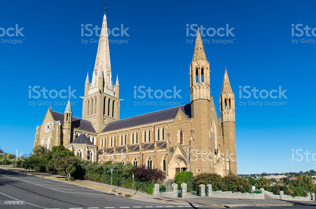 Sacred Heart catholic cathedral in Bendigo Australia stock photo