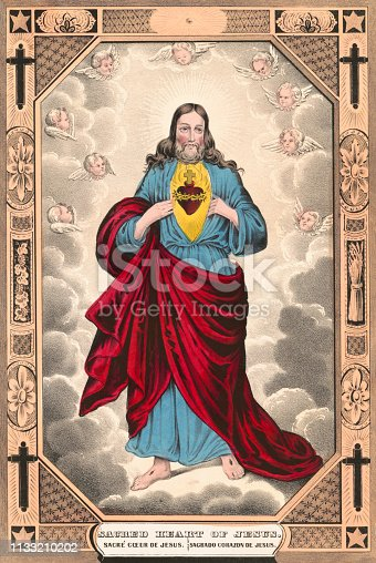 Lithograph depicting the Sacred Heart of Jesus Christ.