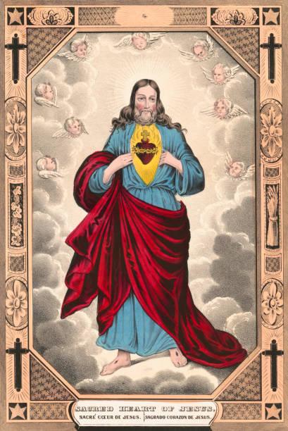 Sacred Heart of Jesus Lithograph depicting the Sacred Heart of Jesus Christ. religious symbol stock pictures, royalty-free photos & images