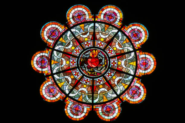 sacred heart of jesus - stained glass in sacre coeur, paris - rose window stock pictures, royalty-free photos & images