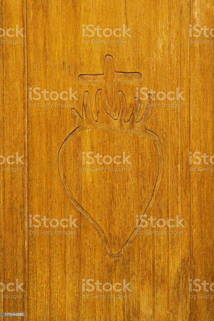 Sacred Heart on Wood royalty-free stock photo