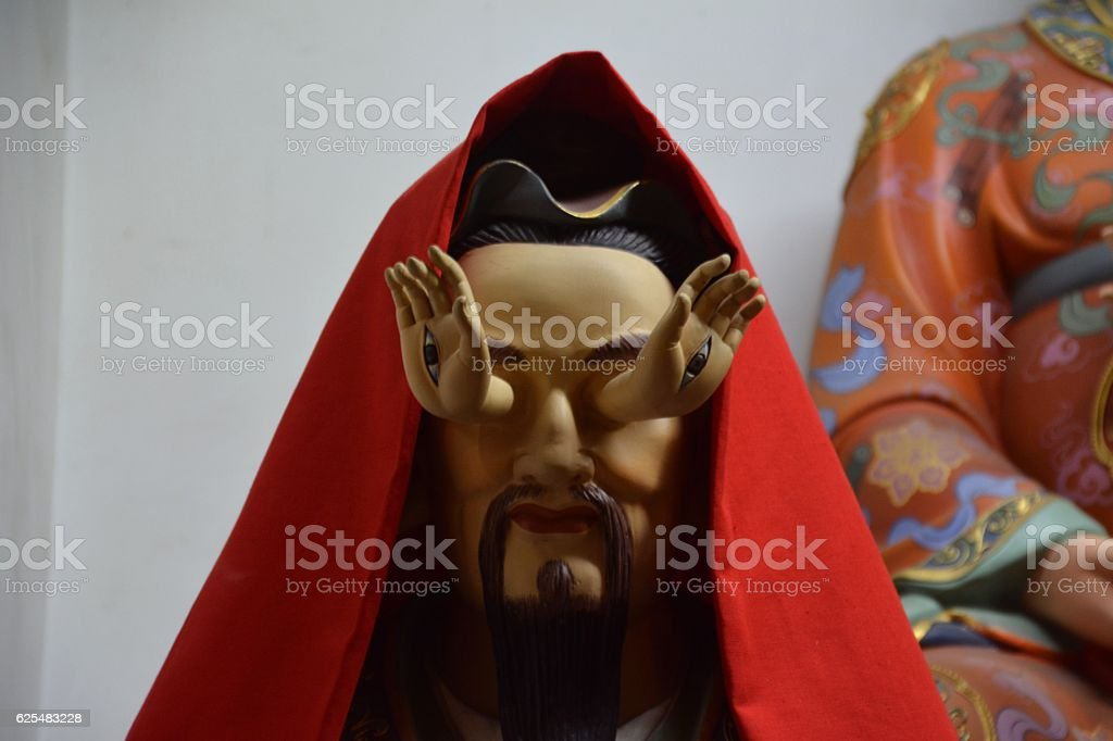 Sacred image in the City God Temple, Shanghai, China stock photo