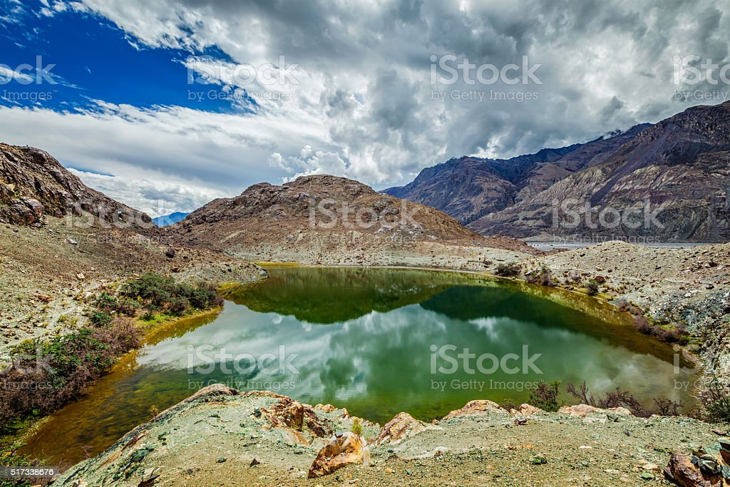 Sacred lake Lohan Tso in Himalayas stock photo