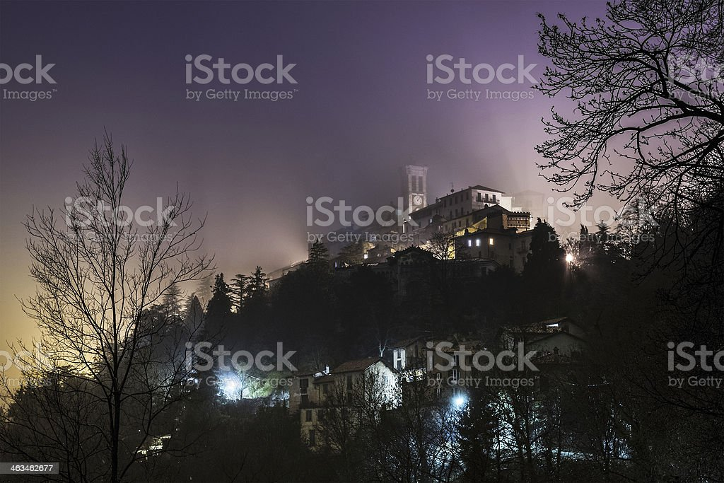Sacred Mount of Varese in the mist stock photo