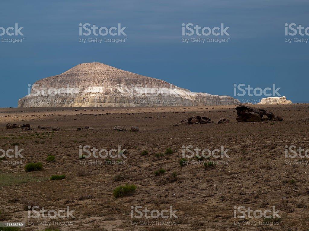 Sacred mountain Sherkala in western Kazakhstan royalty-free stock photo