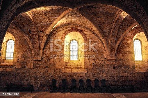 Illuminated sacred place in an old abbey (San Galgano, Tuscany).