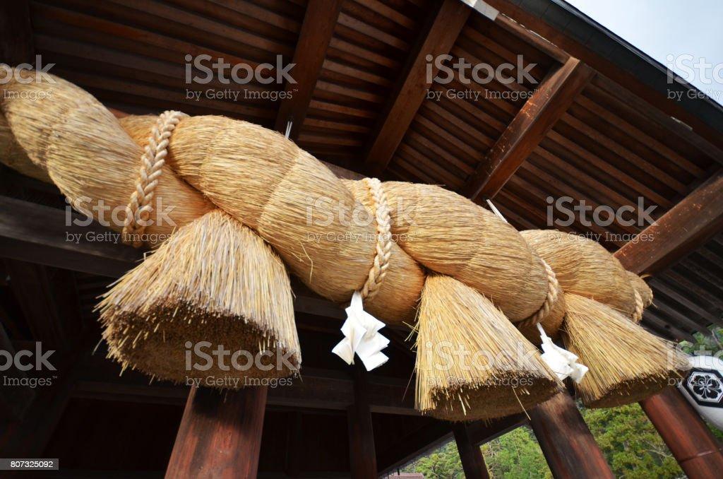 Sacred Straw Rope in front of the Prayer Hall of Izumo-taisha stock photo