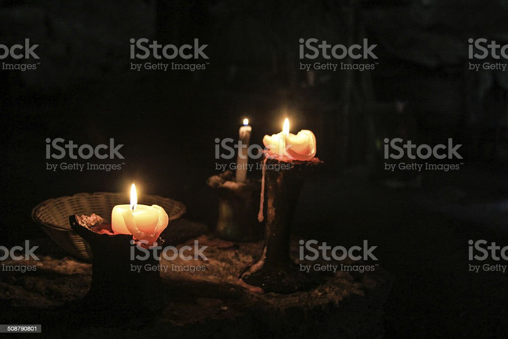 Sacred Temple Candles stock photo
