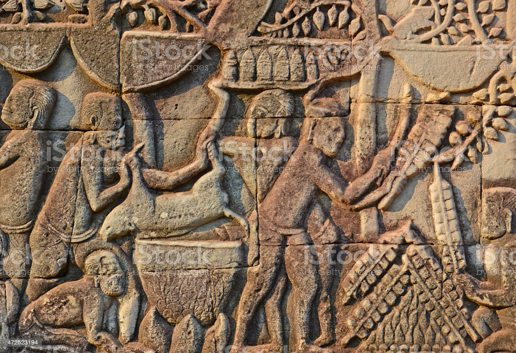 Sacrifice animal from the bas-relief, Bayon Temple, Siem Reap, Cambodia. stock photo