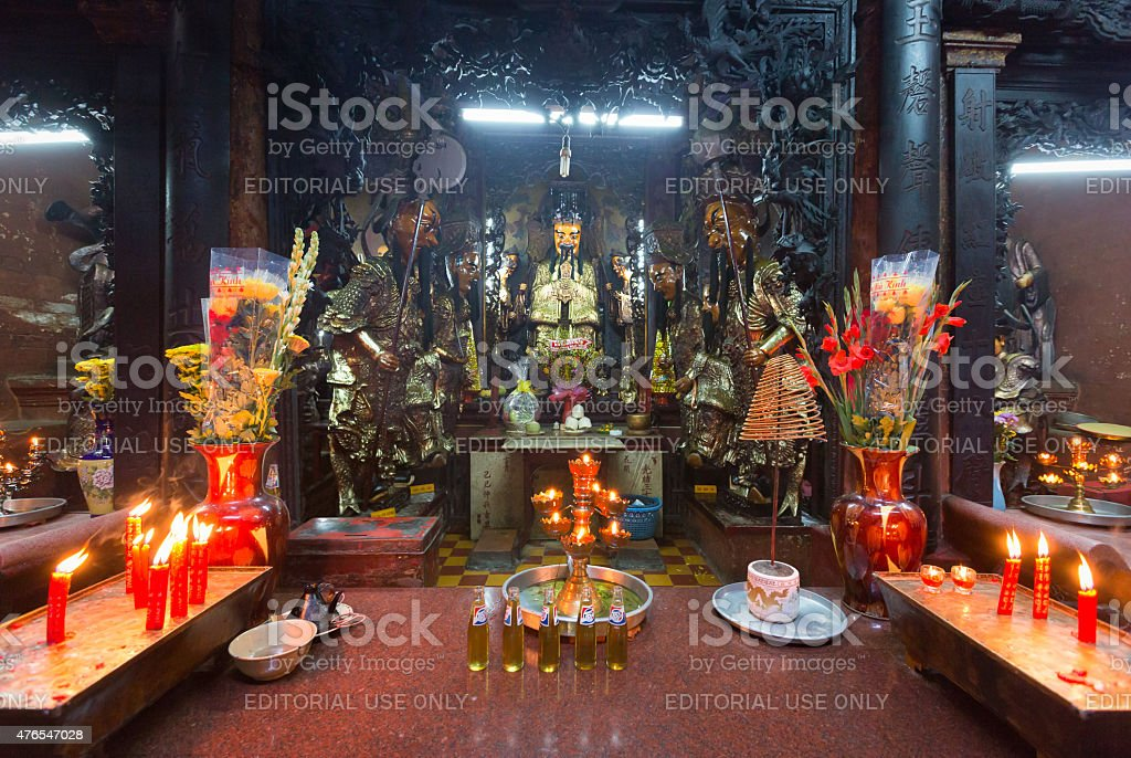 Sacrificial offering in Jade Pagoda at Lunar New Year, Vietnam stock photo