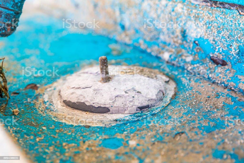 Sacrificial zinc anode on yacht stock photo
