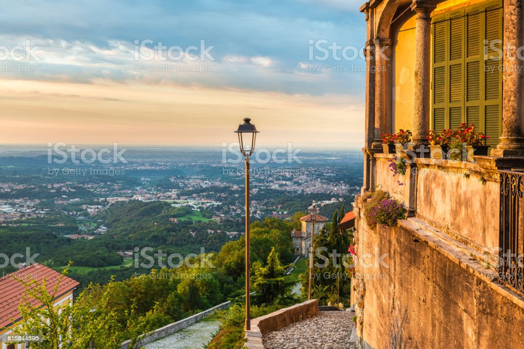 Sacro Monte di Varese (Santa Maria del Monte), medieval village, northern Italy. stock photo