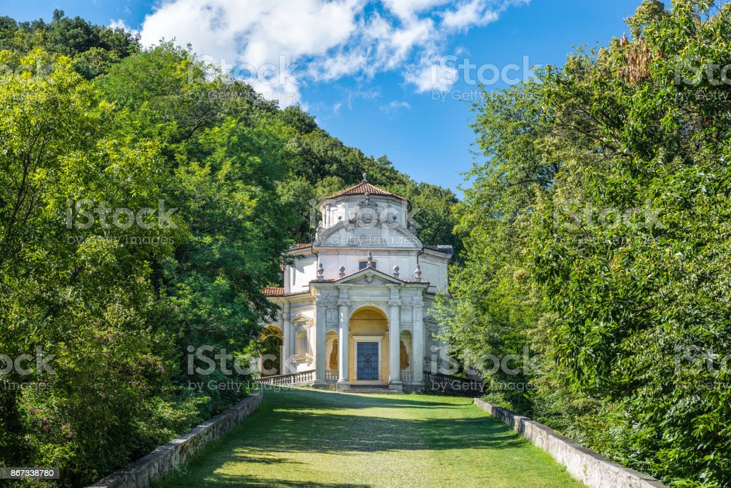 Sacro Monte of Varese (Santa Maria del Monte), Italy. Via Sacra that leads to medieval village, with the fifth (5th) chapel dedicated to the Dispute of Jesus with doctors. World Heritage Site - Unesco stock photo