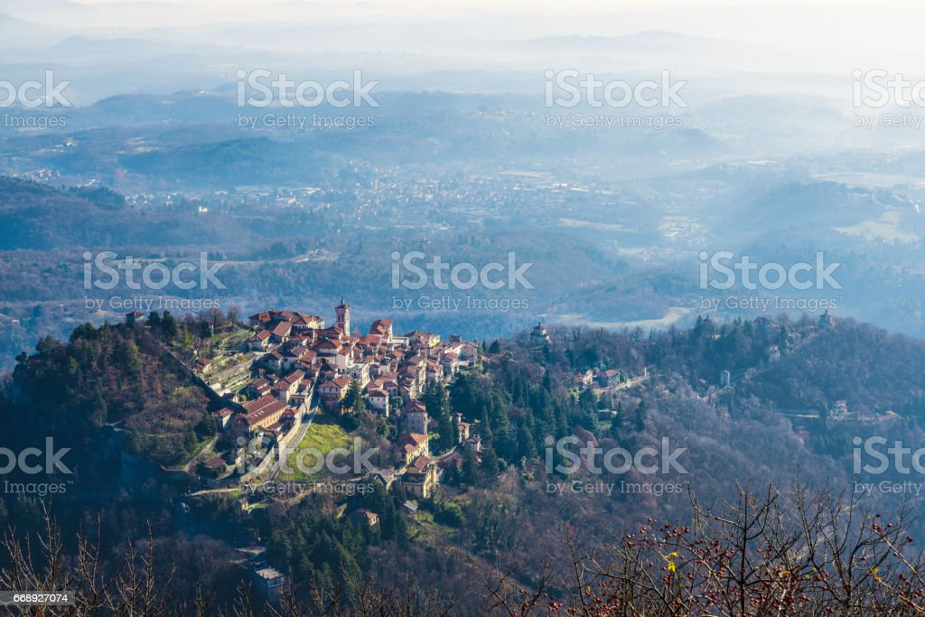 Sacro Monte of Varese, Varese, Italy. To right, the sacred way with six chapels. The village also called Santa Maria del Monte, in 2003 entered from UNESCO in list of World Heritage. stock photo
