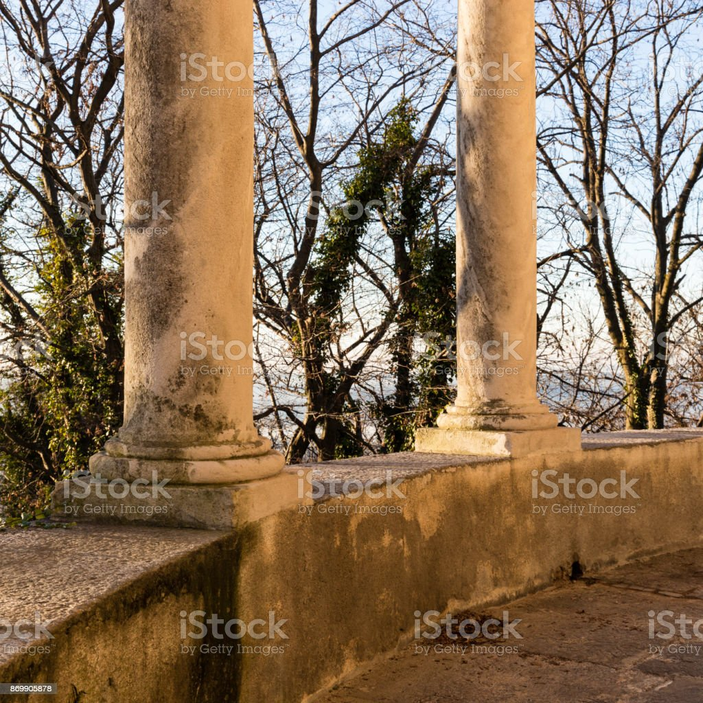 Sacro Monte, Varese. a chappel detail and its colonnade stock photo