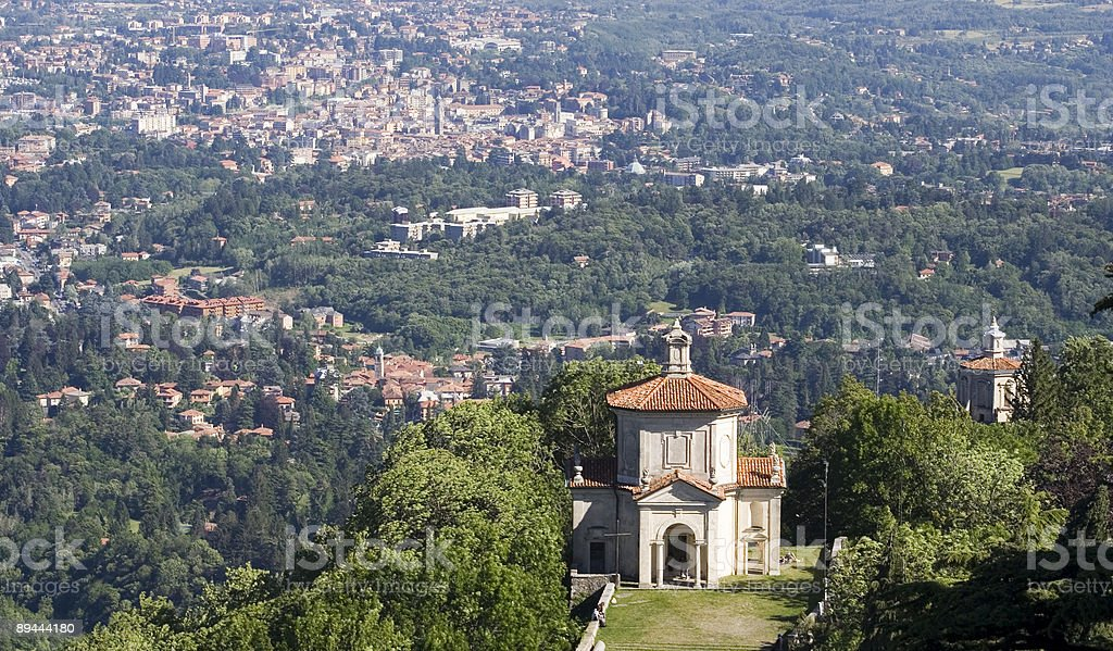 Sacro Monte Varese Aerial view stock photo