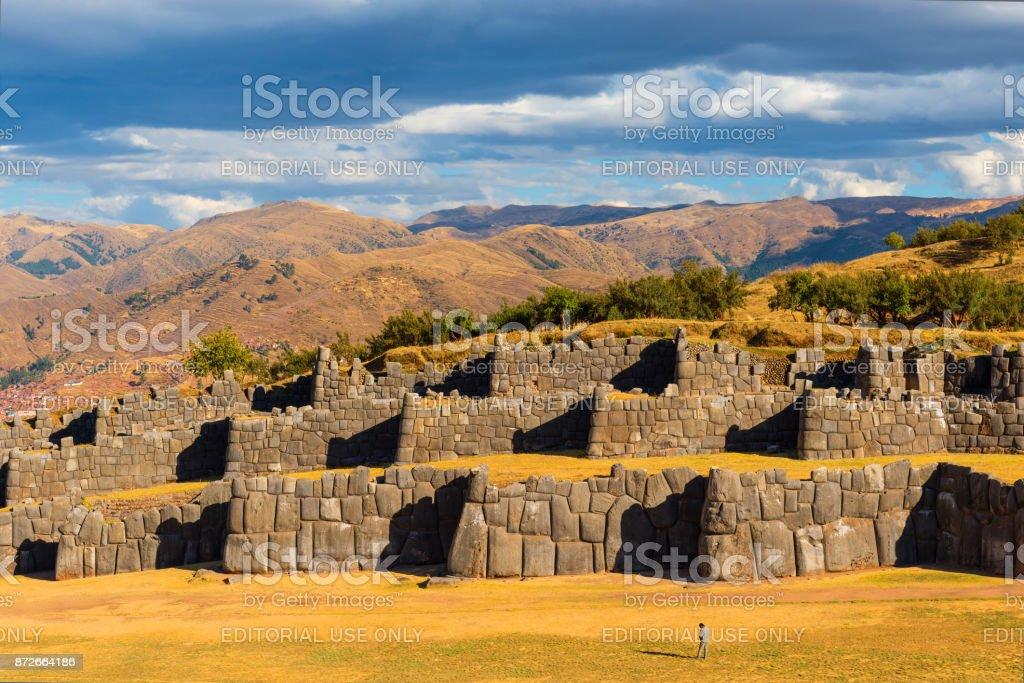 Sacsayhuaman Tourist in Cusco stock photo