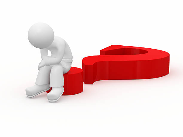 Sad 3d guy sitting on big red question mark. stock photo