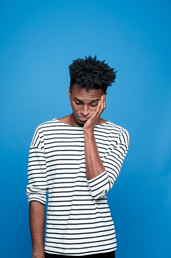 Sad Afro American Young Man Stock Photo - Download Image Now