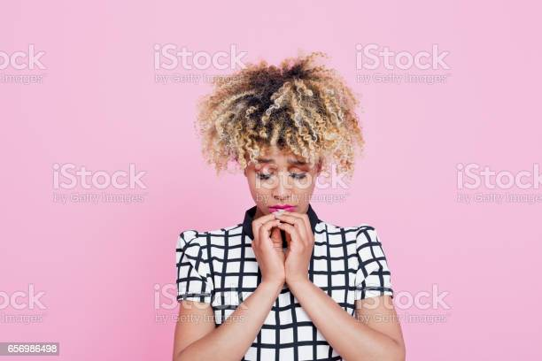 Sad Afro American Young Woman Stock Photo - Download Image Now