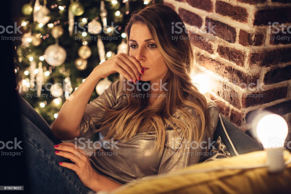 Sad and lonely Christmas stock photo