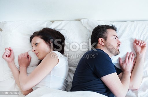 683664728istockphoto Sad and thoughtful couple after arguing lying in bed 915186166