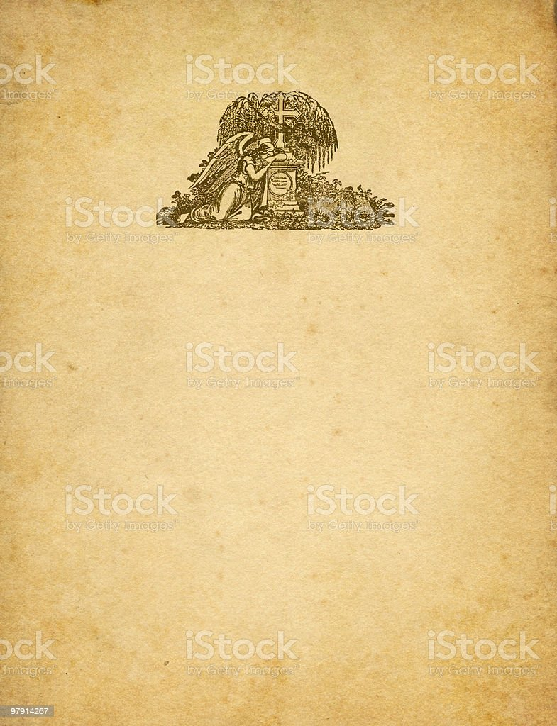 sad angel with tombstone on old paper royalty-free stock photo