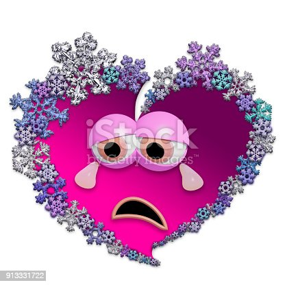 Sad Animated Heart Made Of Snowflakes Stock Photo More Pictures Of
