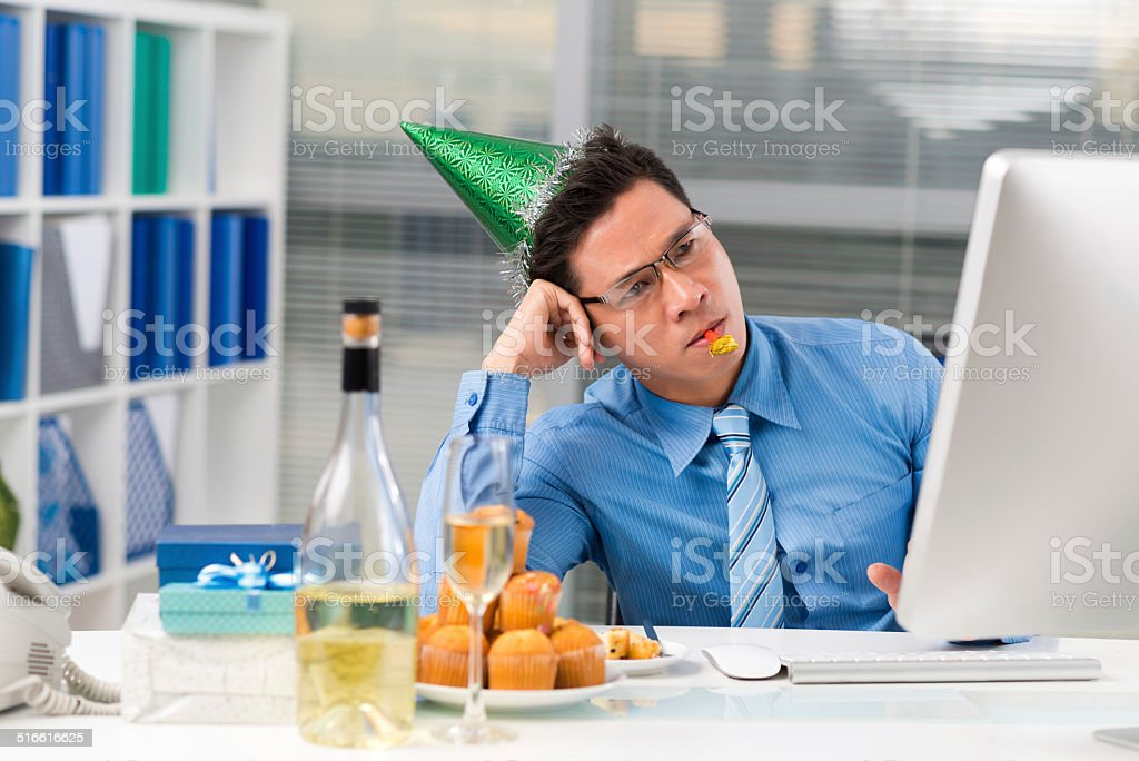 Sad Asian manager stock photo