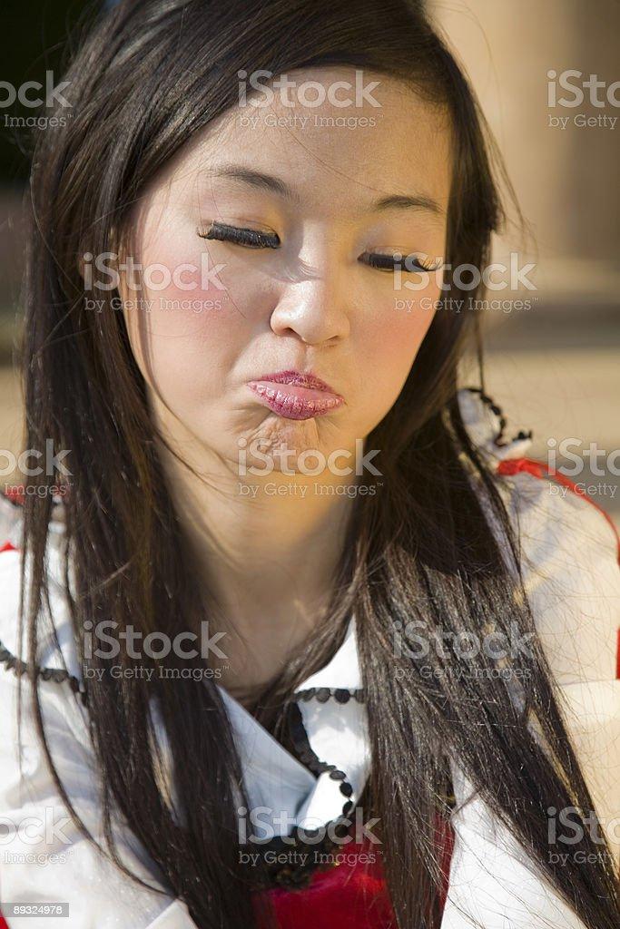 Sad asian woman stock photo