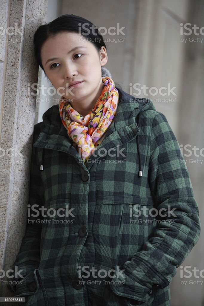 sad asian woman with pressure royalty-free stock photo