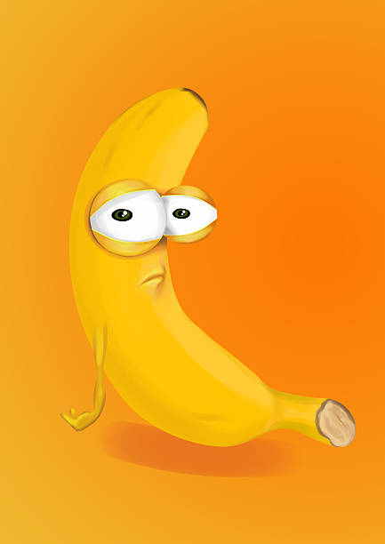 sad banana, disappointed cartoon character on an orange background - sad cartoon images stock photos and pictures