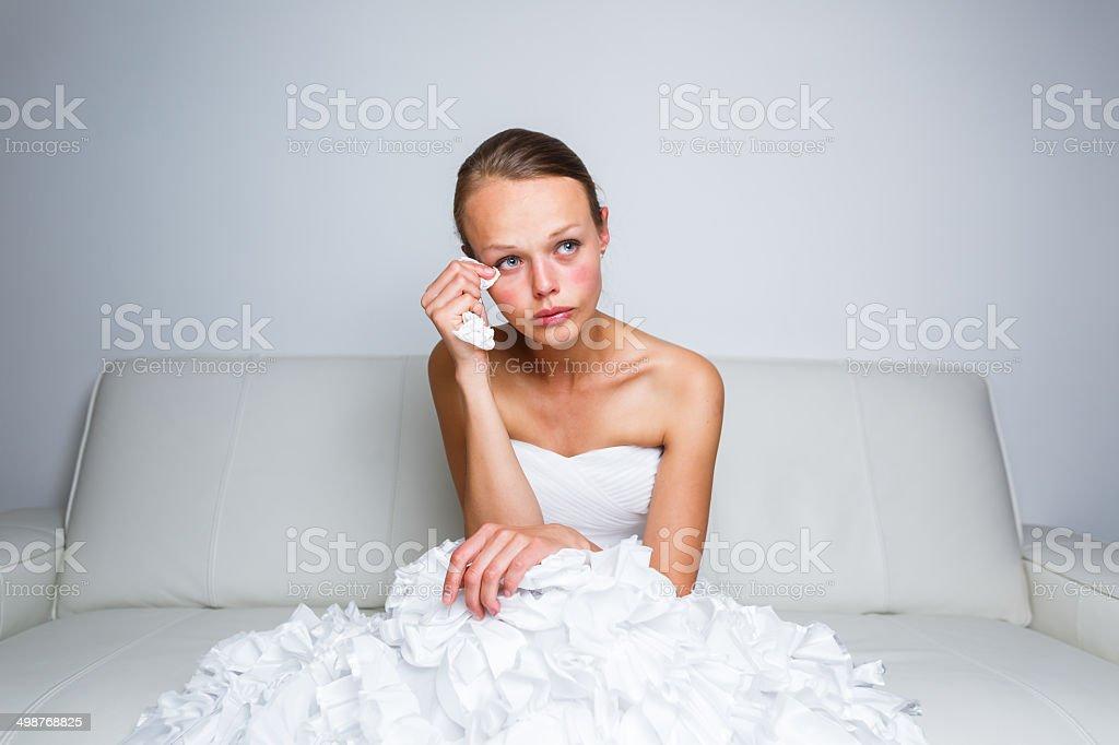 Sad bride crying royalty-free stock photo