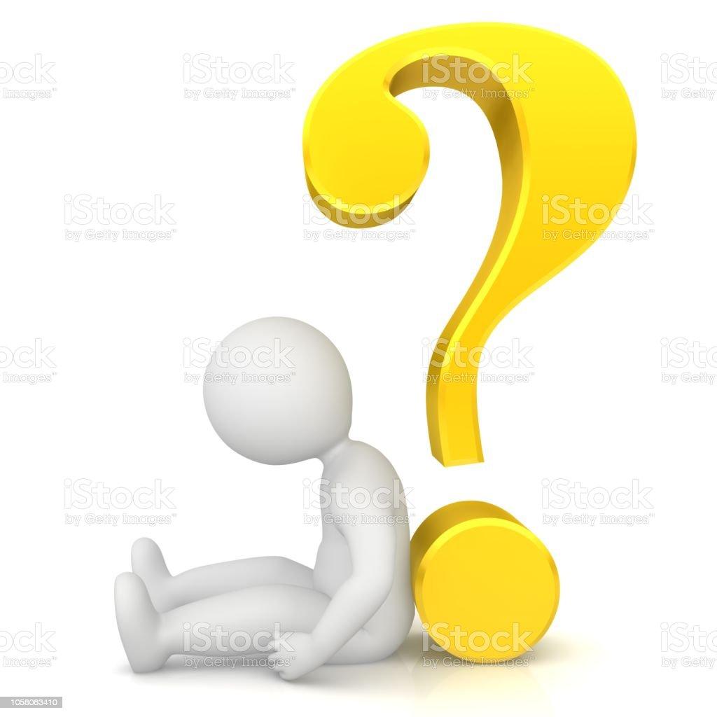 triest gebroken burnout moe ziek onzeker bezorgd gevraagd stok figuur man vrouw 3d teken met geel gouden symbool vraagteken opknoping hoofd zittend op de grond geïsoleerd op witte achtergrond foto