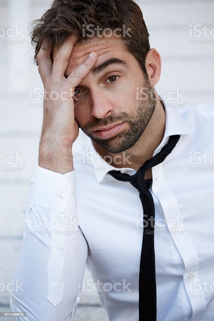 Sad businessman looking at camera, portrait photo libre de droits