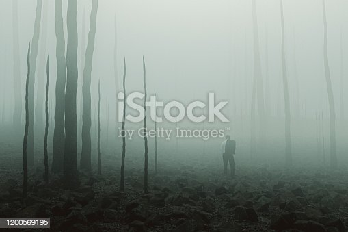 Sad businessman standing in destroyed environment. This is entirely 3D generated image.